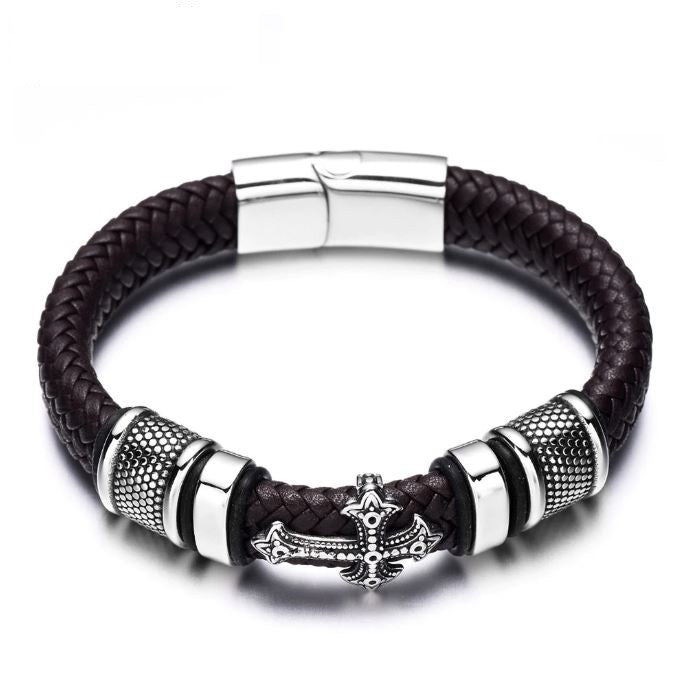 Black leather cross mens bracelet stainless steel titanium