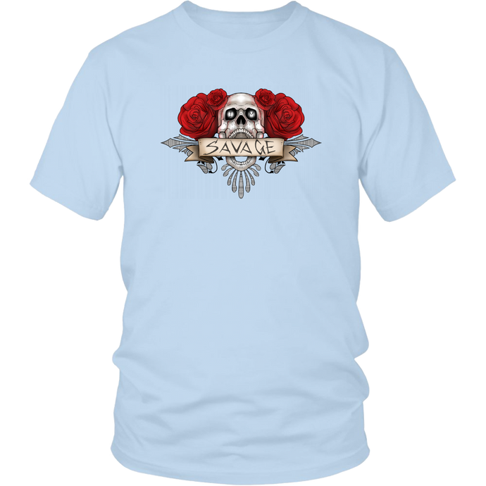 IM Savage Men's T-Shirt Crew Neck Skull n Roses