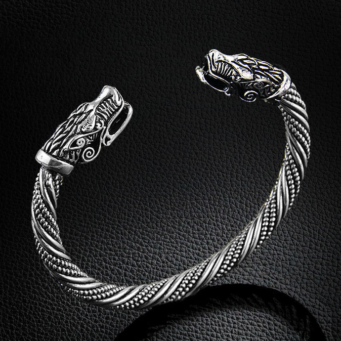 Dragon Silver Plate Stainless Steel Mens Bracelet