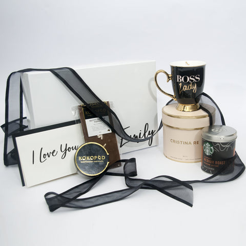 Christina Re Boss lady Coffee Cup Gift Box with Kokopod Chocolate and coffee and a personalised card