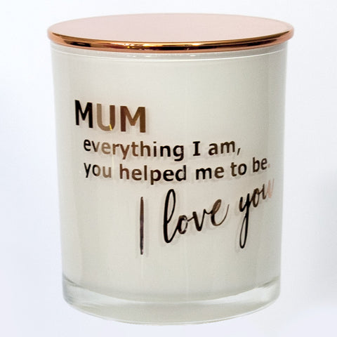 I love you Mum 100 percent soy candle rose gold text mothers day gift 2021