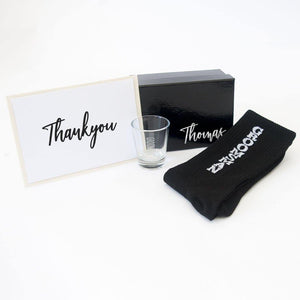 Personalised Black Gift Box Groom, Groomsmen, Bestman, Personlaised card and shot glass
