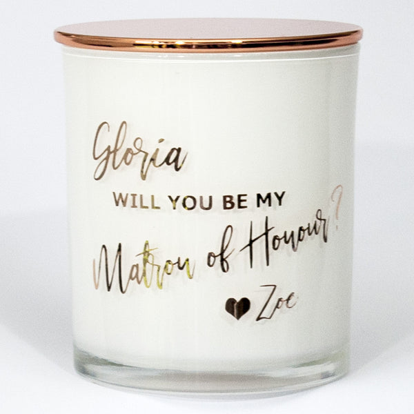 Will you be my Matron of Honour Soy Candle  - Personalised - PrettyLittleGiftBox
