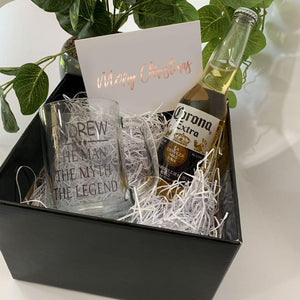 black gift box, personalised beer stein, beer, personalised gift card