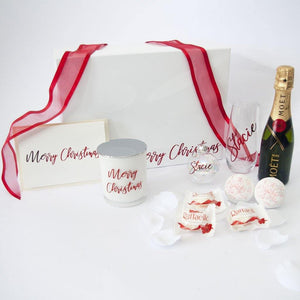 White and Red Personalised Christmas Gfit Box, Moet, Personalised Stemless Wine Flute, Holographic shimmer bath bomb, personalised Christmas Bauble, Personalised Christmas card,