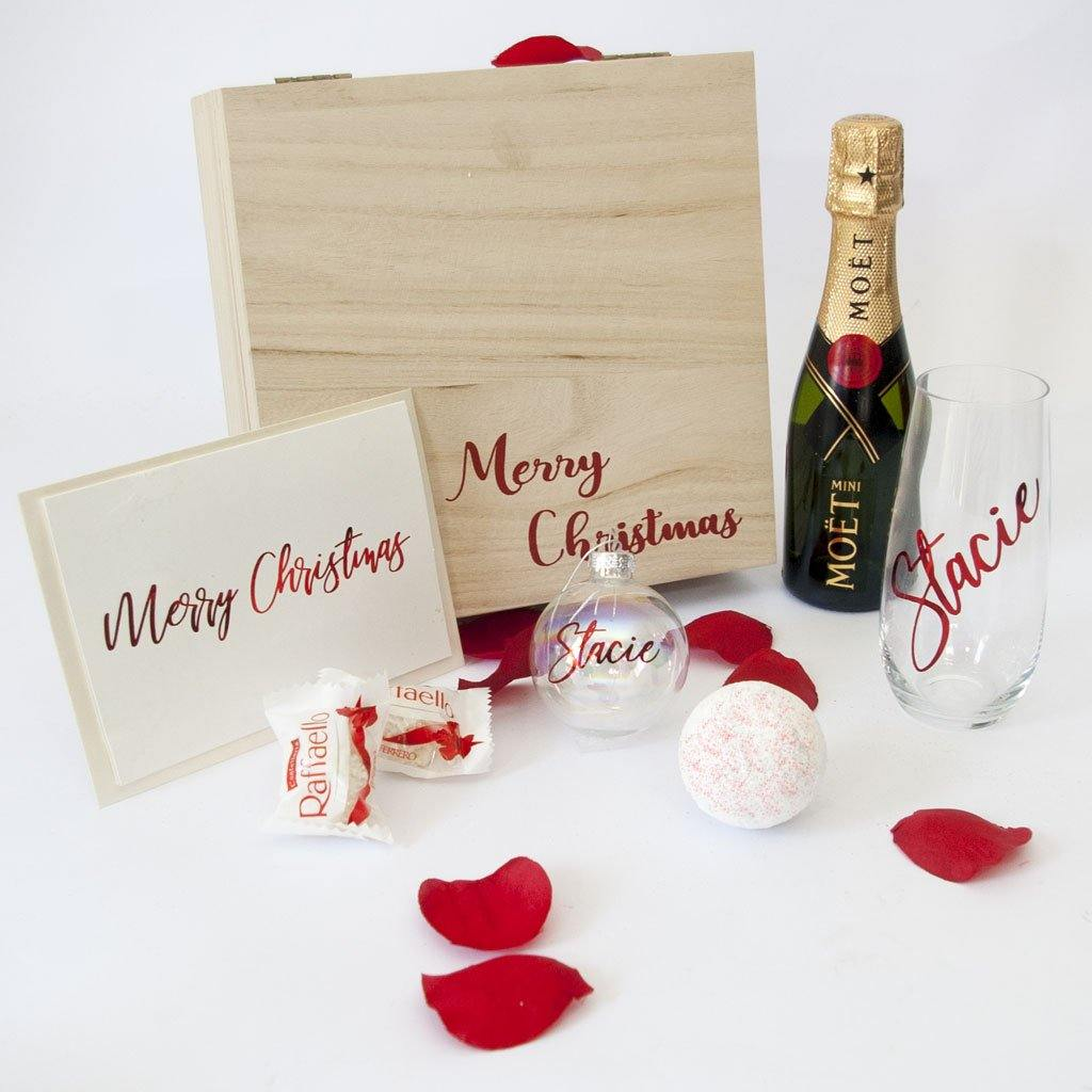Timber Merry Christmas Gift Box, Moet, Stemless Wine Glass, Personalised Christmas Bauble, Holograhic Shimmer Bath Fizzy, Raffaello Chocolates, personalised Christmas Card