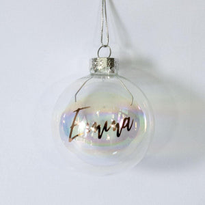 iridescent personalised Christmas Bauble