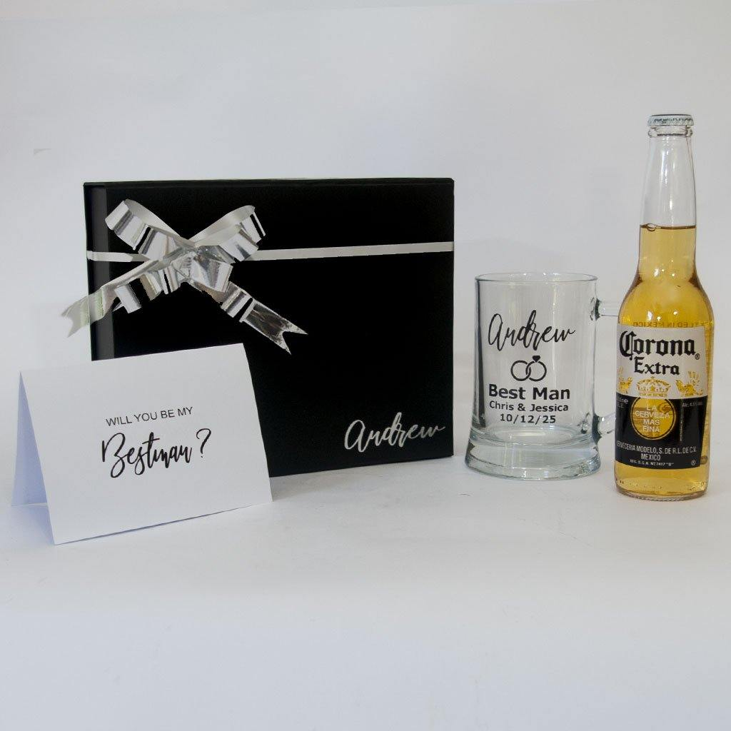 Personalised black gift box with Personalised wedding beer stein, Beer and card