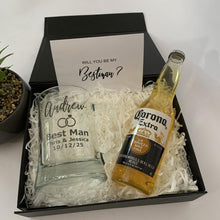 Load image into Gallery viewer, Personalised black gift box with Personalised wedding beer stein, Beer and card