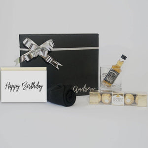 Personalised Black Gift Box with personalised sprit glass, spirit, socks, ferrero rocher chocolates and a greeting card