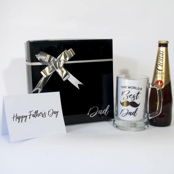 Black Gift Box with Worlds Best Dad Beer stein, Crown larger and Fathers Day Card