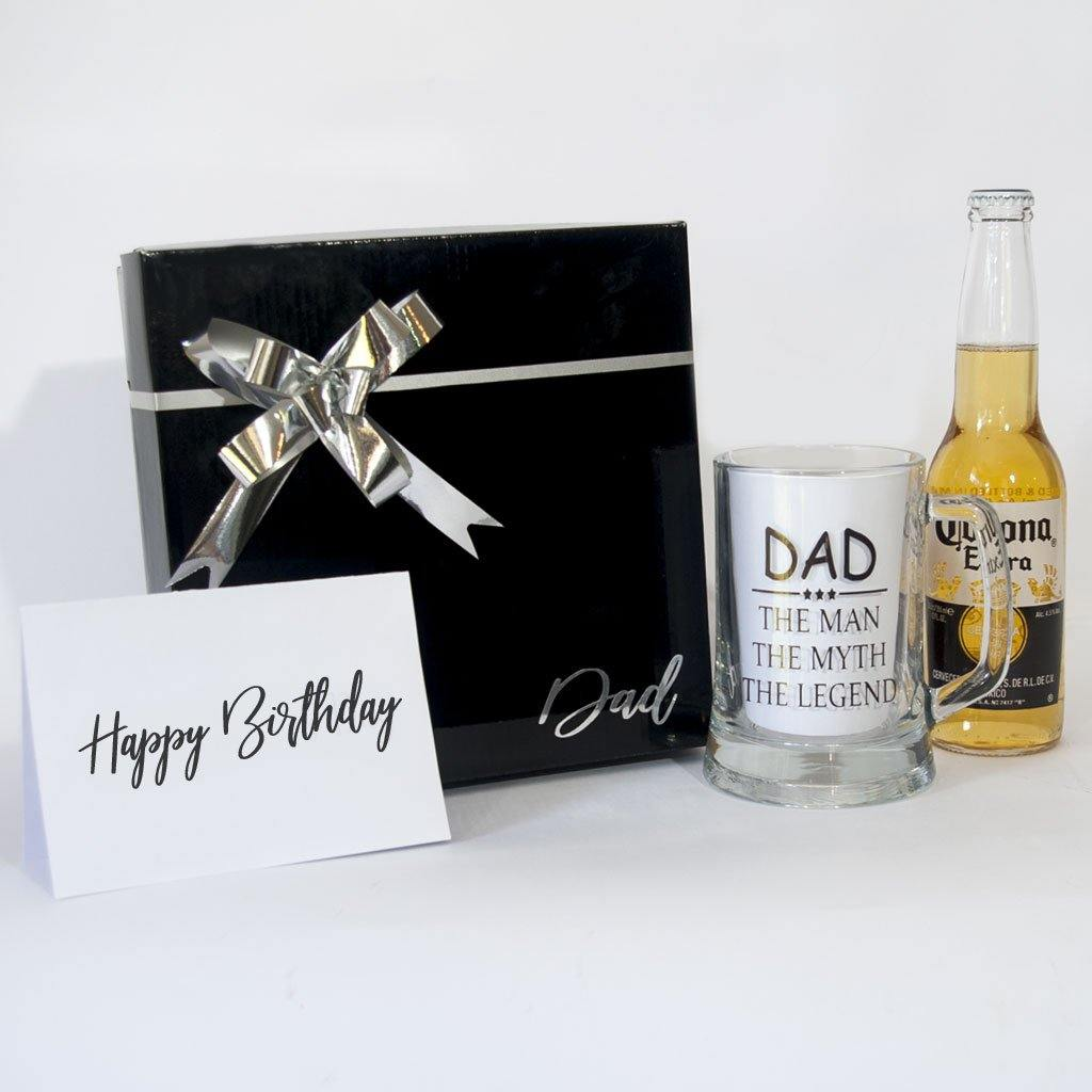 Black Gift Box with Dad, Beer stein Dad the man, the myth, the legend, Beer and greetin card.