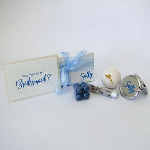 Personalised Gift Box. personalised compact mirror, bath fizzy, bath salts, bath pearls and personalsied card.