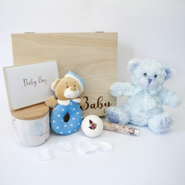Newborn Baby Boy Luxury Hamper - With Timber Keep Sake Gift Box - PrettyLittleGiftBox