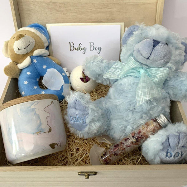 Newborn Baby Boy Luxury Hamper - With Timber Keep Sake Gift Box