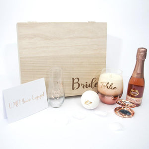 Personalised Timber Box, personalised stemless wine flute, bath fizzy, moscato, Personalised rose gold candle, greeting card