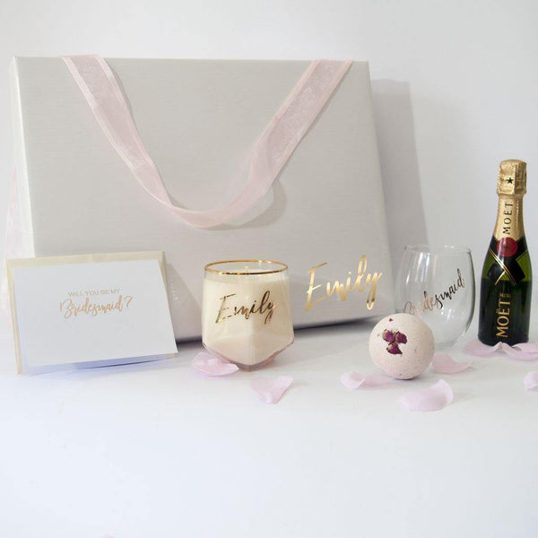 Personalised White Gloss Gift Box, Personalised Candle, Moet, Personalised stemless wine glass, Rose Shea bath fizzy, Moet, personalised greeting card