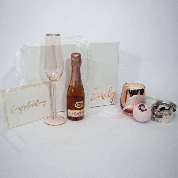 Blush Pink Personalised Gift box with card candles and bath salts