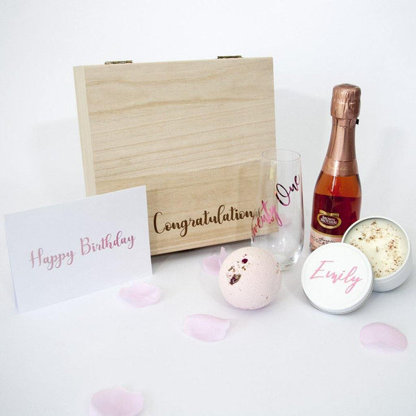 Personalised Birthday Hamper - Timber Gift Box - PrettyLittleGiftBox