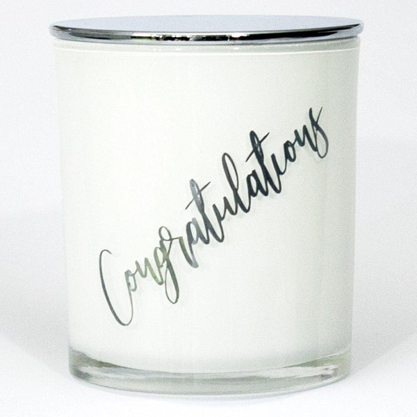 congratulations soy candle with silver lid