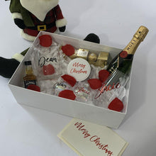 Load image into Gallery viewer, Personalised Couples Gif Box, personalised stemless wine glass, stemless spirit glass, personalised Baubles, Moet. ferrero rocher chocolates, personalised Christmas Card