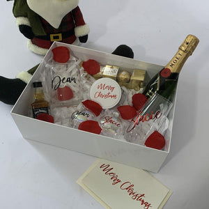Personalised Couples Gif Box, personalised stemless wine glass, stemless spirit glass, personalised Baubles, Moet. ferrero rocher chocolates, personalised Christmas Card