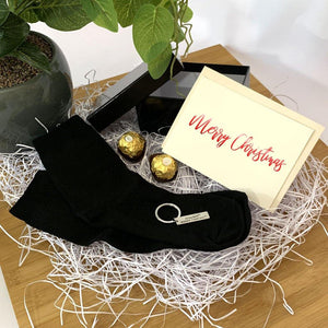 Personalised Gift black gift box, black bamboo socks, stainless steel dad keyring, ferrero rocher chocolates, personalised greeting card