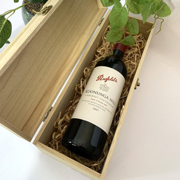 Timber Gift Box with Red wine