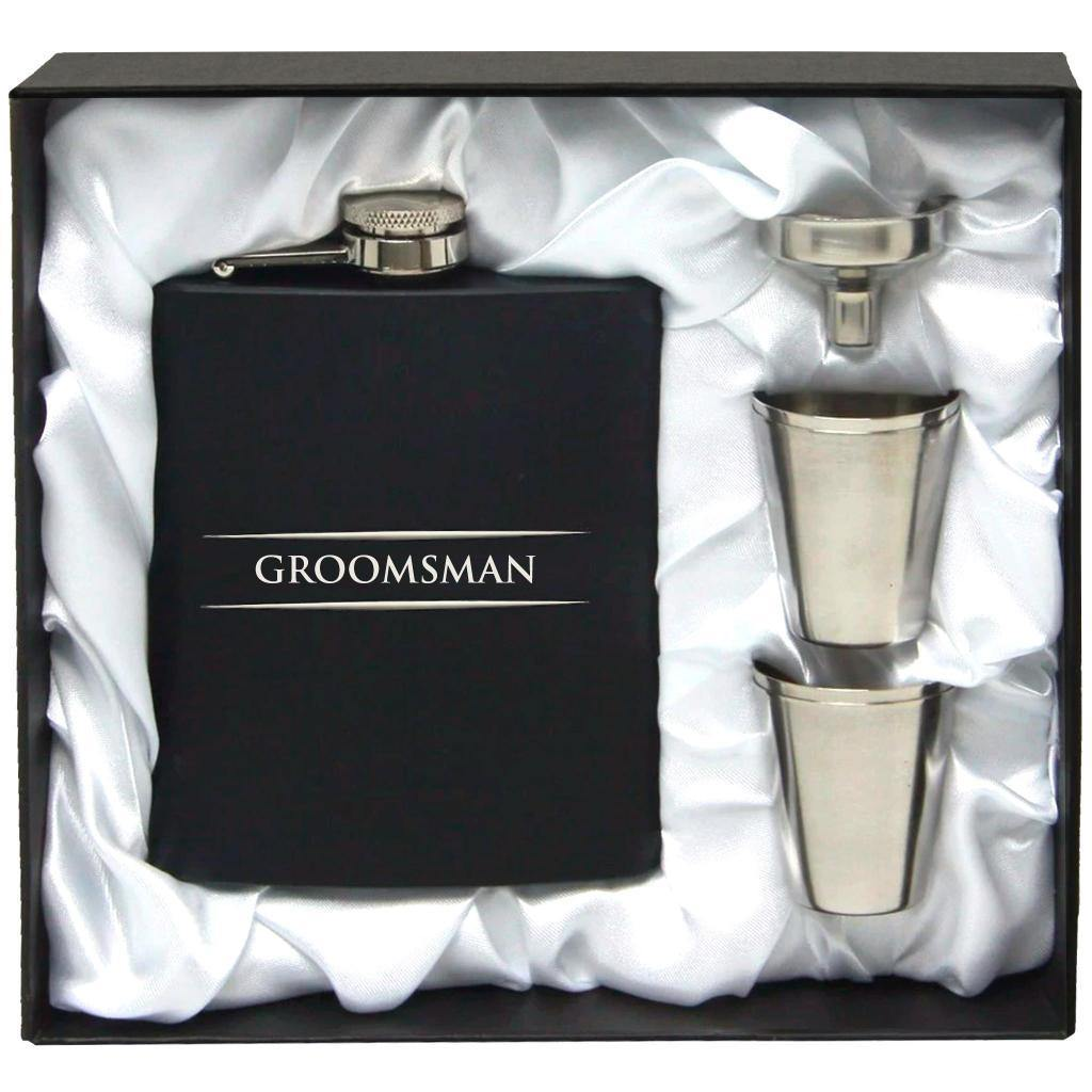 Stainless Steel Hip Flask - Groomsman - PrettyLittleGiftBox