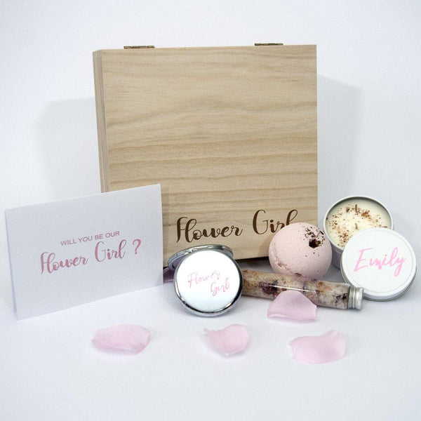 Personalised timber flower girl box, personalised compact mirror, personalised candle, bath bomb and rose petal bath salts and a personalised card