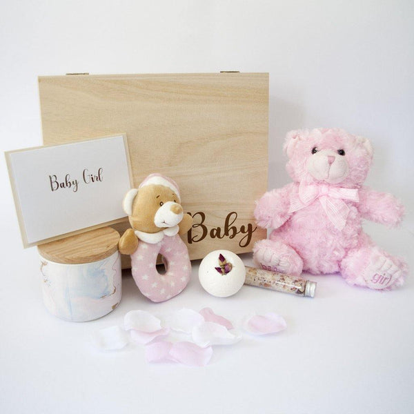 Newborn Baby Girl Luxury Hamper - With Timber Keep Sake Gift Box - PrettyLittleGiftBox