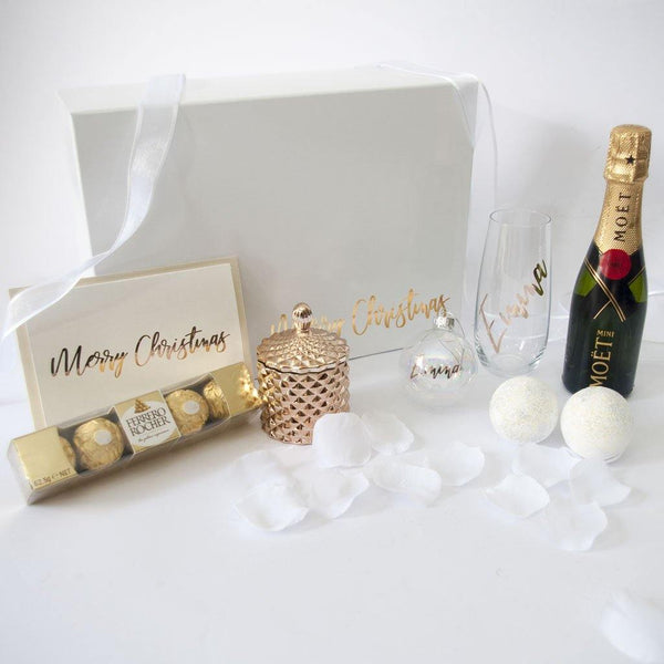 Luxurious Gold and White Christmas Hamper for Her - PrettyLittleGiftBox
