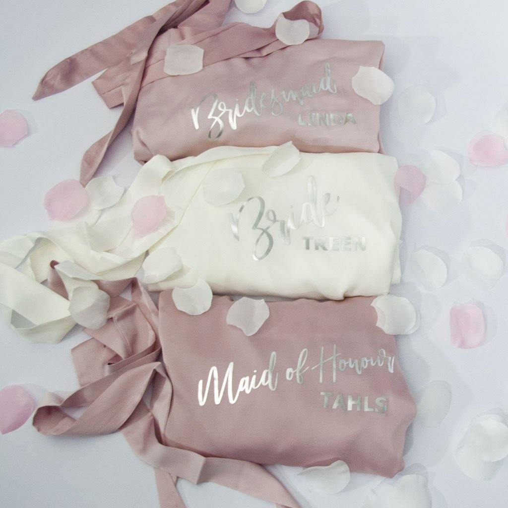 Personalised Satin Bridal Party Bath Robes