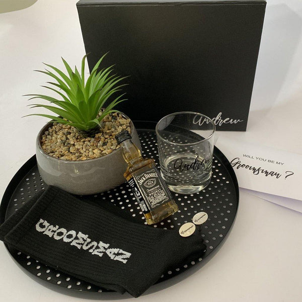 Personalised Black Gift Box with personalised sprit glass, sprit, Groomsmen socks, Groomsmen Cufflinks, and card
