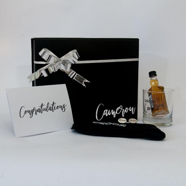 Personalised Black Gift Box with personalised Groom sprit glass, sprit, socks,Groom Cufflinks  and a greeting card