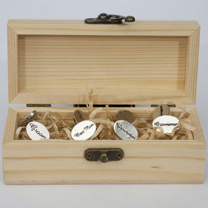 Wedding Party Cufflinks Set - Groom, Bestman and Groomsman Gift Box