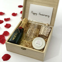 "Load image into Gallery viewer, ""Happy Anniversary"" Congratualtions Gift Box - Timber Keep Sake Box"