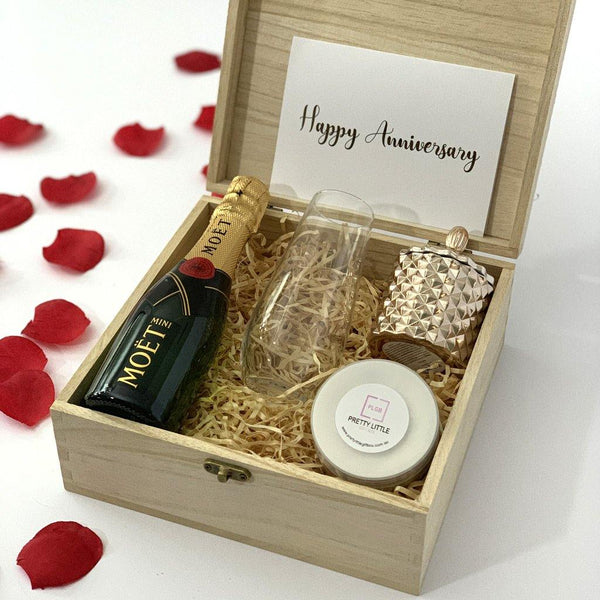 """Happy Anniversary"" Congratualtions Gift Box - Timber Keep Sake Box - PrettyLittleGiftBox"