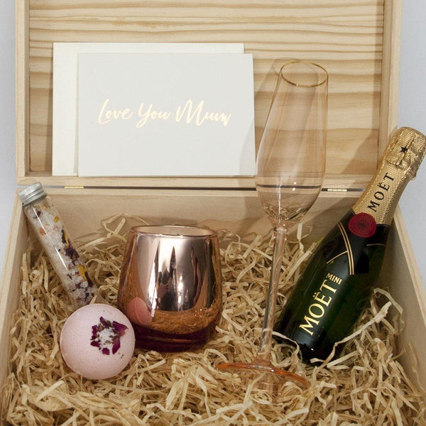 styled cristina re flute in a timber gift box with moet