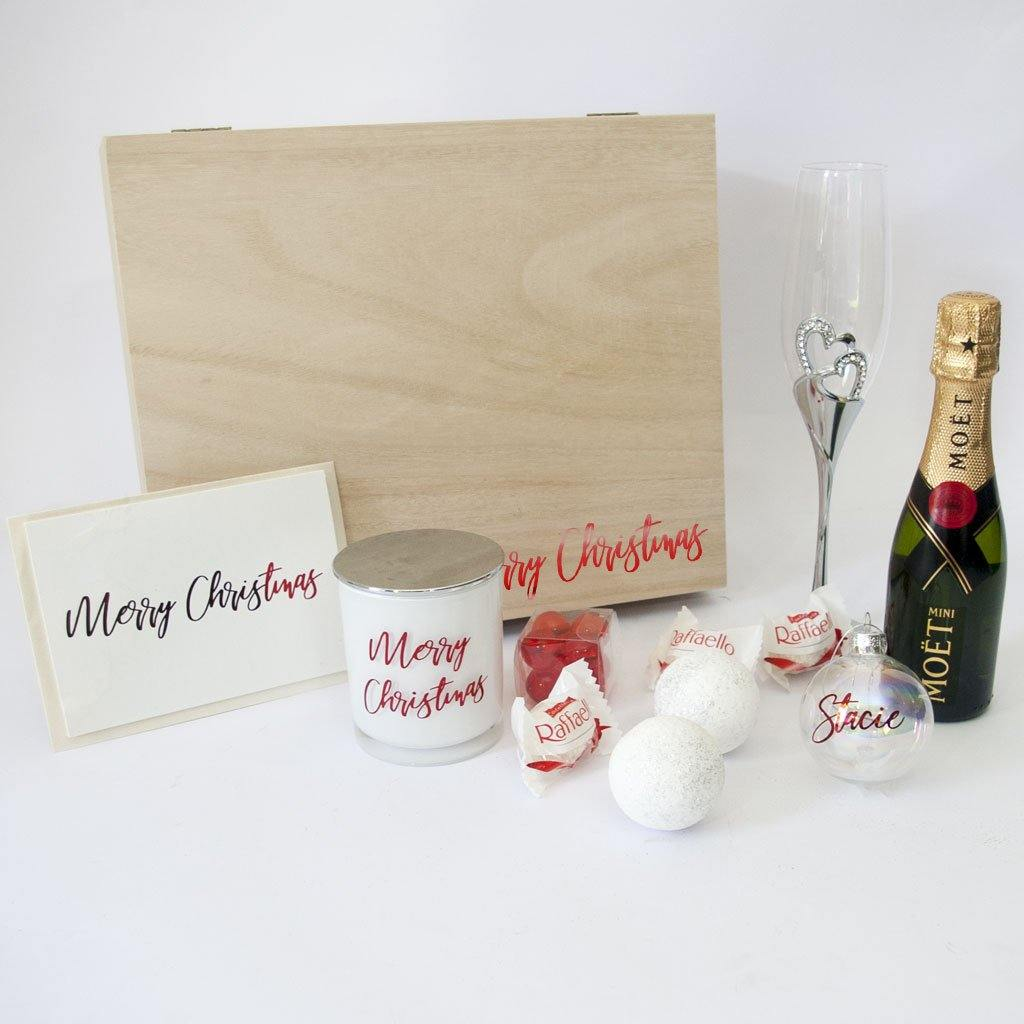 Timber Personalised gift box, silver wine flute, mowt, merry christmas soy candle, holographic shimmer bath fizzy, personalised bauble, personalised christmas card