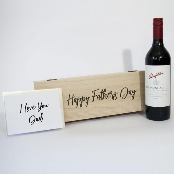 Happy Fathers Day red wine gift box with timber keep sake.