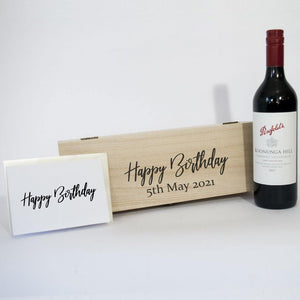 Personalised Happy Birthday Timber Box with Penfolds Red wine and card