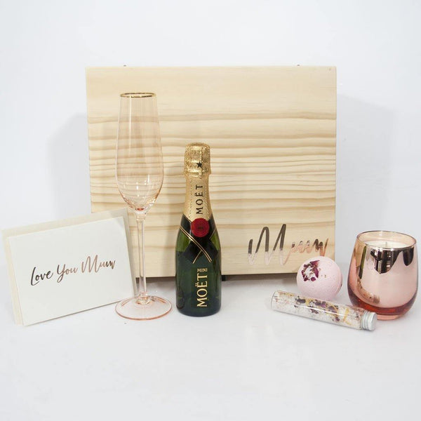 moet timber mothers day gift box filled