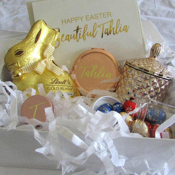 styled easter bunny gift box with easter eggs and rose gold candle and card