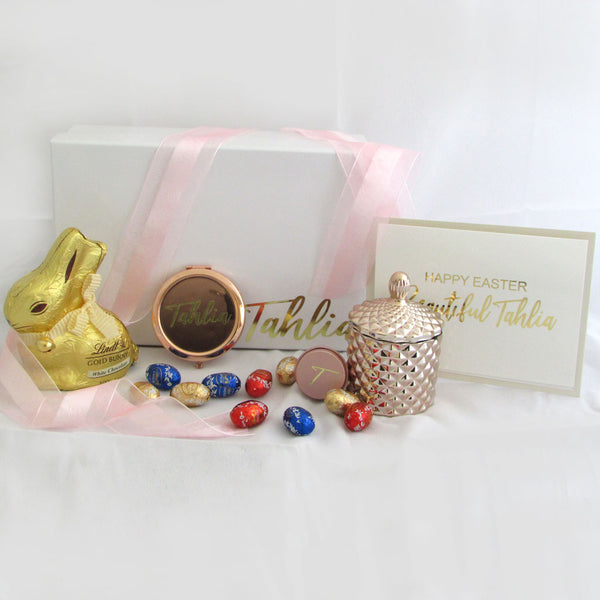 Easter Gift Box for Kids includes candle and compact mirror with lip balm all in a gold colour with customised foil greeting card