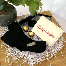 Load image into Gallery viewer, Black Personalised gift box, black bamboo socks, stainless steel money clip, ferrero rocher chocolates, personalised christmas card