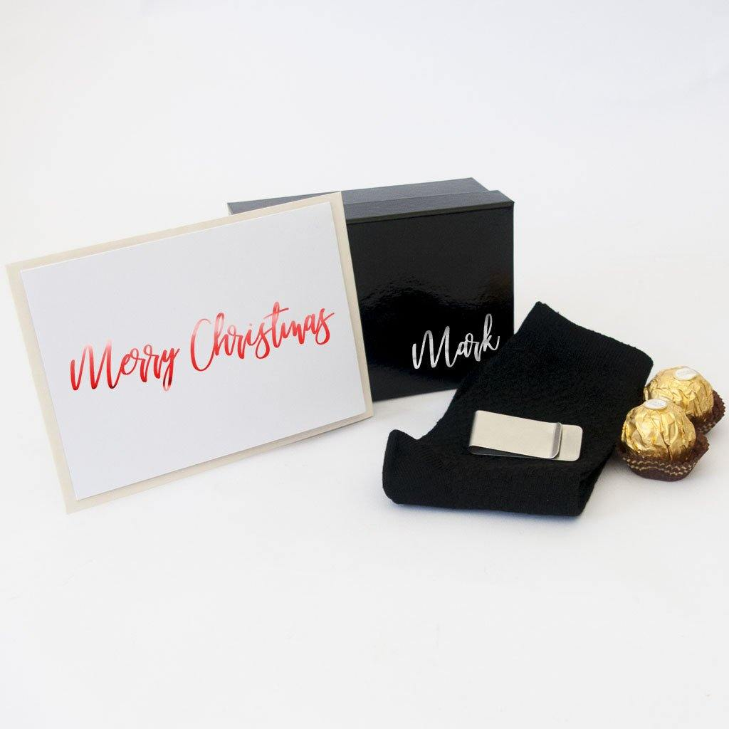 Black Personalised gift box, black bamboo socks, stainless steel money clip, ferrero rocher chocolates, personalised christmas card