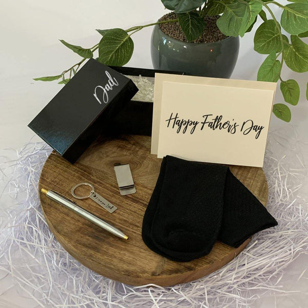 Personalised Black Gift Box, black bamboo socks, two toned ball point pen, Stainless steel Money clip, Dad key ring, Personalised Greeting Card