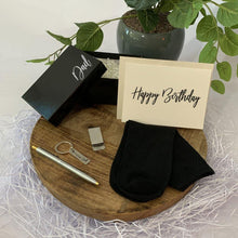 Load image into Gallery viewer, Personalised Black Gift Box, Black bamboo socks, sterling silver money clip, dad key ring, Stainless steel two toned ball poin pen