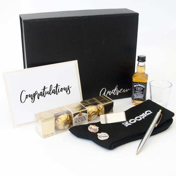 Personalsied Black gift box, personalised spirit glass, black groom socks, two toned biro, stainless steel money clip, ferrero rocher chocolates, cufflinks, personalised gift card